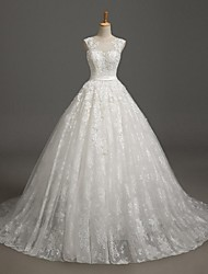 Ball Gown Wedding Dress Court Train Jewel Lace / Tulle with Lace / Sash / Ribbon / Beading