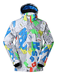 Gsou snow new letter  pattern white ski jackets/ men  waterproof breathable windproof ski board jackets