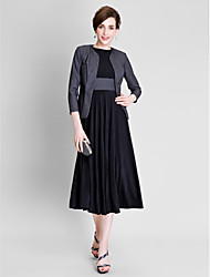 2017 Lanting Bride® A-line Mother of the Bride Dress Tea-length 3/4 Length Sleeve Polyester / Jersey with