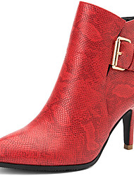 Boots Winter Leather Casual Stiletto Heel Buckle Black Red