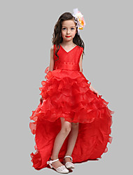 Ball Gown Court Train Flower Girl Dress - Cotton / Organza / Satin Sleeveless V-neck with