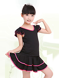 Children's Training Milk Fiber Ruched 2 Pieces Short Sleeve Natural Top / Skirt Children's Dance Clothes