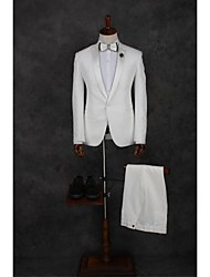 Suits Tailored Fit Notch Single Breasted One-button Polyester Solid 2 Pieces White Straight Piped  WhiteNone