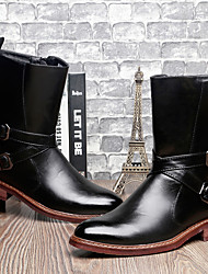 Men's Shoes Cowhide Outdoor / Casual Boots Outdoor / Casual Walking Low Heel Buckle Black / Burgundy