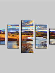 JAMMORY Canvas Set Landscape Modern,Five Panels Gallery Wrapped, Ready To Hang Vertical Print No Frame Mountain Evening