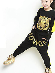 Girl's Casual/Daily Animal Print Hoodie & Sweatshirt / Clothing Set,Cotton / Polyester Spring / Fall Red / Yellow / Gray