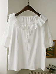 Women's Going out Cute Summer Blouse,Solid Ruff Collar Short Sleeve White Cotton / Polyester Thin