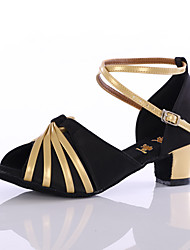 Women's Girl's Dance Shoes Satin / Leatherette Latin/Salsa Sandals Heel Indoor Black / Gold Customizable