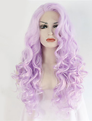 2 Tones Synthetic Lace Front Wig Purple Color Wavy Wigs Top Quality