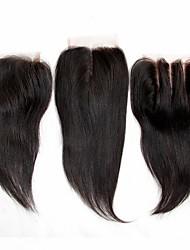 8 - 22 inch Noir Dentelle frontale Droit (Straight) Cheveux humains Fermeture Marron clair Dentelle Suisse 30g- 55g gramme Cap Taille