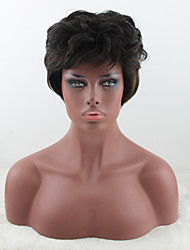 Short Curly wigs Cheap Price high temperature Brown Color Synthetic Wigs