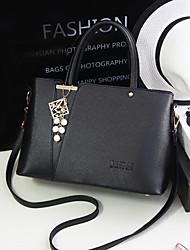 Mujer Bolso de Hombro PU Otoño De Compras Casual Formal Baguette Volantes Cremallera Blanco Negro Plata Azul Rosa