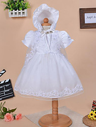 Baby Casual/Daily Solid Dress,Cotton All Seasons White
