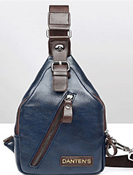 Men PU Casual Shoulder Bag Blue / Black
