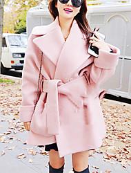 Mulheres Casaco Casual Simples Inverno,Sólido Rosa / Cinza Lã Colarinho de Camisa-Manga Longa Grossa