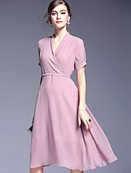 AFOLD® Damen V-Ausschnitt Kurze Ärmel Knielänge Kleid-5645