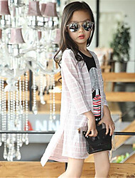 Casual/Dagelijks-Patchwork-Katoen-Zomer-Girl's-Kostuum & Blazer-Roze / Wit