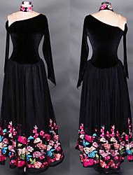 мы будем латинскими танцевальными платьями женские атласные атласные атласы / спандекс сплетенные 1 часть черного