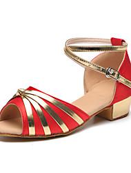 Kids' Dance Shoes Satin Satin Latin Heels Flat Heel Practice / Indoor Black / Blue / Red