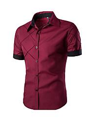 Men's Short Sleeve Shirt,Cotton Casual Striped