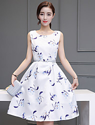 Women's Casual/Daily Vintage A Line Dress,Floral Round Neck Knee-length Sleeveless White Polyester Fall