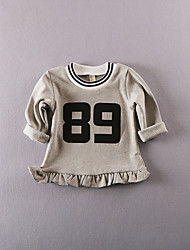 Girl's Casual/Daily Solid Blouse,Cotton Fall Pink / Gray
