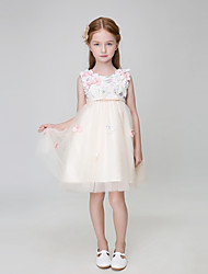 A-line Knee-length Flower Girl Dress - Tulle / Polyester Sleeveless Jewel with Flower(s)