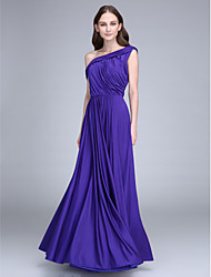 Floor-length Jersey Bridesmaid Dress Sheath / Column One Shoulder with Side Draping