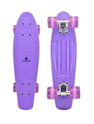 "Plastic Cruiser Skateboard Complete 22"" DIY Standard Skateboard Banana Board Purple Deck Purple Wheels"