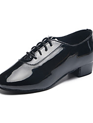 Kids' Dance Shoes Patent Leather Patent Leather Latin Heels Flat Heel Practice / Indoor Black
