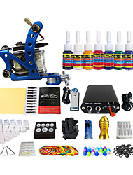 Professional Color Pigment Coil Tattoo Machine Kit Equipment (Handle Color Random Delivery)