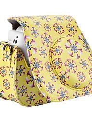 pu leer bloempatroon case tas voor Fujifilm instax mini 8 instant film camera, geel