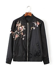 Women's Going out Vintage Fall / Winter Jackets,Embroidered Stand Long Sleeve Black Polyester Medium