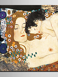 Pintada a mano Personas Modern / Estilo europeo,Un Panel Lienzos Pintura al óleo pintada a colgar