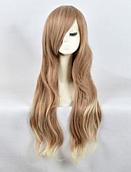 High Quality Natural Long Curly Brown Blonde Ombre Color Synthetic Wig For White Women