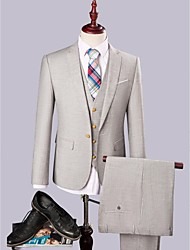 2017 Gray  Polyester/Rayon(T/R)  Single Breasted On Slim Fit Three-Piece  Suit