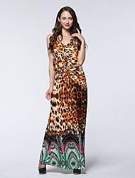 Women's Holiday / Plus Size Boho Loose Dress,Leopard Halter Maxi Sleeveless Yellow Spandex / Others Summer