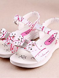 Girls' Shoes Casual Microfibre Sandals Summer Comfort / Open Toe / Sandals Flat Heel Bowknot Purple / White / Fuchsia