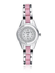 2016 Jewelora Luxury Noble Cubic Zircon Ceramic Pink Quartz Women Party Watches