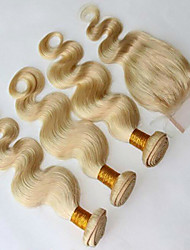3 Pcs/Lot 8A Peruvian Virgin Hair With Closure Blonde Hair Lace Closure With 3Pcs Hair Weft Body Wave With Closure
