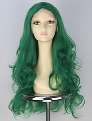 75cm mulheres ondulado longo dianteira do laço peruca cor verde partido da forma sintética perucas