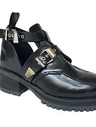 Chaussures Punk Talon haut Couleur Pleine 4 CM Pour Féminin Cuir