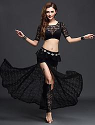 Dança do Ventre Roupa Mulheres Actuação Renda Renda 3 Peças Manga Curta Natural Blusa Saia Calções