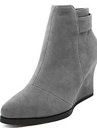 женская обувь флис клинья / ботинки способа / ботинки пальца ноги заостренный партия& вечер / платье / вскользь клин пятки молнии