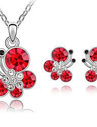Women's Austrian Fashion Butterfly Earrings Necklace Set