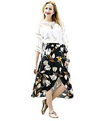 Damen Röcke - Retro Asymmetrisch Andere Unelastisch