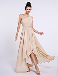 2017 Lanting bride® vestido de chiffon dama de honra assimétrica - A Linha de um ombro com drapeados lado