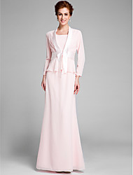 Lanting Bride® Trumpet / Mermaid Mother of the Bride Dress Floor-length Long Sleeve Chiffon with Sash / Ribbon