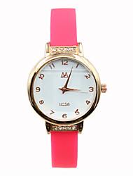 Women's Digital Pointer Silicone Strap Candy Color Rhinestones Rose Fashion Belt Casual Quartz Watches