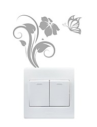 AYA™ DIY Wall Stickers Wall Decals, Butterfly & Flower Type PVC Switch Panel Stickers  10*13cm